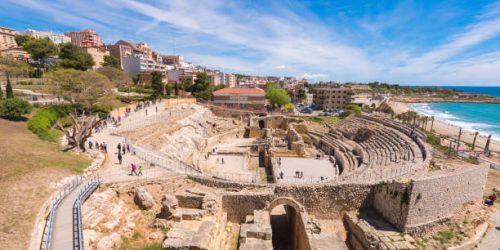Roman Amphitheater, Costa Daurada, Catalunya. Copy space for text